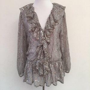 New Boston Proper Lace Ruffle Blouse Silver Sz 14